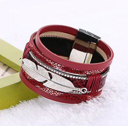 Silver Clasped Leather Bracelets NZ - Women Men Bangles Silver Feather Leaves Wide Multilayer Leather Rope Bracelet With Magnetic Clasp Fashion Jewelry BB