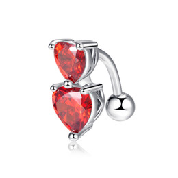 $enCountryForm.capitalKeyWord UK - Hotsale Women Sexy Belly Ring 18K White Gold Plated CZ Double Hearts Navel Button Ring for Girls Women P0028