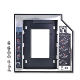 Wholesale Universal Aluminum 2nd HDD Caddy 12.7mm SATA 3.0 DVD HDD Adapter for 2.5''7 9 9.5 12.5mm SSD HDD Case Enclosure CD-ROM Optibay