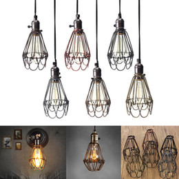 $enCountryForm.capitalKeyWord NZ - Retro Vintage Industrial Lamp Covers Pendant Trouble Light Bulb Guard Wire Cage Ceiling Fitting Hanging Bars Cafe Lamp Shade