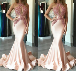 $enCountryForm.capitalKeyWord Canada - 2017 New Sexy Prom Dresses Jewel Neck Illusion Lace Appliques Beaded Mermaid Light Pink Evening Dress Long Party Dress Pageant Formal Gowns