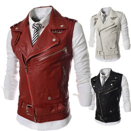 Wholesale waistcoats leather for sale - Group buy Personalized Oblique Zipper Vest New Short Slim Fit Casual Vest Men Motorcycle Leather Waistcoat Black Red White