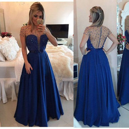 Robe En Mousseline De Soie À Manches Longues Pas Cher-Sheer Top Beaded Royal Blue Chiffon Robes de soirée 2017 Hot A Line Jewel Neck Cap Sleeves Long Party Prom Gowns