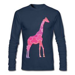 Unique Boy T Shirts NZ - Geometric style long sleeve T shirt mens fall slim tailoring fashion tshirt unique pink Giraffe printed boy cool clothing