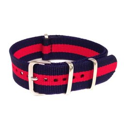 Nato Watch Straps Wholesale Canada - Wholesales New 20mm Blue Red Single Stripe Army Nylon Military Nato Watch Strap Band Watchband