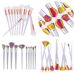 $enCountryForm.capitalKeyWord Canada - Rainbrow Makeup Brushes Set 10pcs set Spiral Shell Colorful Brushes Professional Powder Makeup Brushes Tool Thread Cosmetic Brush Kit A08