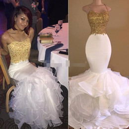 $enCountryForm.capitalKeyWord Australia - 2019 White Gold Mermaid Prom Dresses Sweetheart Spaghetti Satin Organza Backless Cross Back Straps Evening Gowns Black Girls Party Dresses