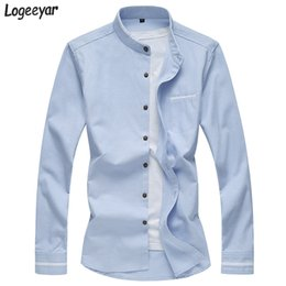 Fit Blouse Canada - Wholesale- Men Shirt Autumn Long Sleeved Shirt Stand Collar Men Slim Fit Shirts Single Breasted Solid Cotton Men's Blouse Plus Size 7XL