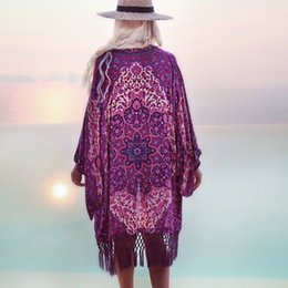 purple fringe bathing suits Australia - Summer Chiffon Purple Fringe Bathing suit Cover ups Tuniques Pour Plage women Beach Dress Cover up