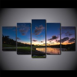 oil canvas set 2019 - 5 Pcs Set Framed HD Printed Golf Course Sunset Landscape Wall Canvas Art Modern Print Painting Poster Picture For Home D