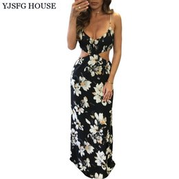 Longue Tunique Sans Manches Pas Cher-YJSFG HOUSE Sexy Women Summer Hollow Out Long Maxi Dress 2017 Sans manches Floral Print Backless Robes de soirée Robe Tunique q170669