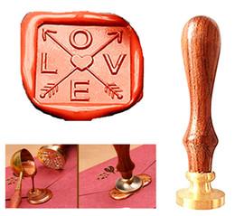 $enCountryForm.capitalKeyWord Australia - Vintage Square Love Arrow Custom Picture Logo Wedding Invitation Wax Seal Sealing Stamp Rosewood Handle Set