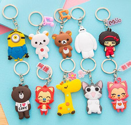 $enCountryForm.capitalKeyWord NZ - 24 Models 3D Phone Accessories Lovers Cartoon Rings Trinket Soft PVC Keychain Marines Key Holder Key Chains Finder Souvenirs Gift