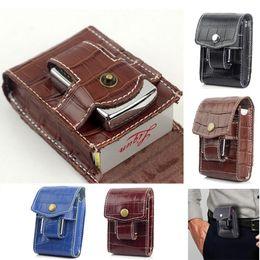 Leather beLt Loop cases online shopping - Men Women Crocodile Pattern Genuine Leather Cigarette Case Wallet With Lighter Holder Waist Belt Loop Cigarette Box