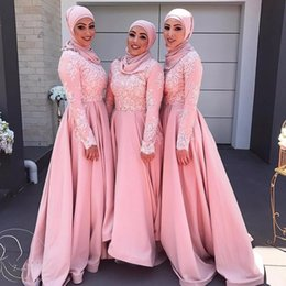 Discount new abaya dress - New Pink Long Sleeves Lace Brdesmaid Dresses Vintage Muslim Hijab Abaya Moroccan Kaftan Appliqued Formal Prom Gowns Even
