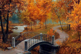 Pattern Decor Australia - DIY Diamond Paintings Autumn Forest Bridge Decor Picture Pattern Cross Stitch Diamond Paintings Embroidery Cross Home Decoration
