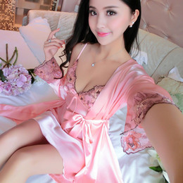 Barato Longo Verão Vestes Senhoras-Venda por atacado - 2017 New Spring Autumn Sexy Sleepwear Mulheres Summer Silk Nightgown Robe Set manga comprida China Satin Nightwear Lady Sexy Lingerie