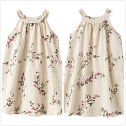 $enCountryForm.capitalKeyWord Canada - Suspender summer flax small peach blossom with lotus leaf dress skirt girl Linen Printed Sleeveless Dress