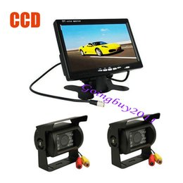 "bus rear view camera NZ - 7"" LCD Monitor Car Rear View Kit for Bus Long Truck + 2x CCD IR Car Reverse Camera with 10M cable Waterproof 10pcs lot"