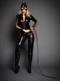 Catsuit En Dentelle Pour Femmes Pas Cher-Sexy Catwoman Cosplay Catsuit Femmes Lace Up Zipper Jumpsuit Cat Mistress Role Play Costume d'Halloween avec masque