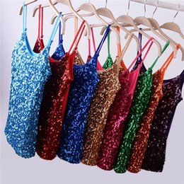 745683aeeebe5 Gold Sequins Vest Canada - Women Flashy Sequins All Over Front Spaghetti  Strap Tank Top Fashion