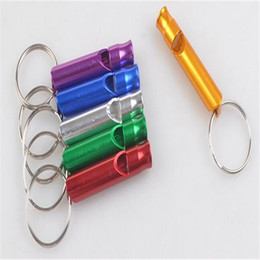 Wholesale Whistle Keychain Mini Aluminum Emergency Survival Whistle With Key Chain Ring Charms Rescue Whistles Survival Fashion Gift Alloy Gift DHL