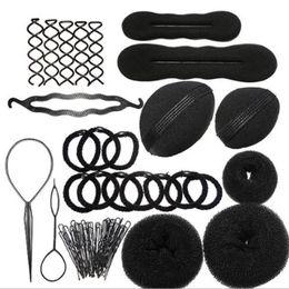 hair rollers hairstyles 2019 - Magic Curler 8 Pcs  Set Sponge Donut Magic Hair Braider Roller Elastic Bands Chignon Magique Bezel For Hairstyles Scrunc