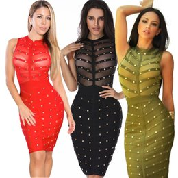 Robe Vintage À Genoux Vert Pas Cher-2017 Summer Nail perlé Mesh Sheer Bodycon Dress Sexy Women Longueur au genou Robe manches courtes Robes Rayon Black Olive Green Red Vêtements