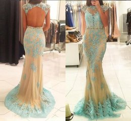 Sexy Long Lace applique Mermaid Evening Dresses Party 2017 Turkish Women  Backless cap sleeve Beaded Formal Prom Gowns Dresses Wear eafdfd0e3ec2