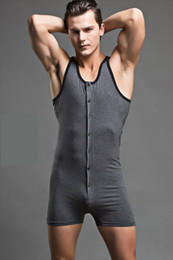 Wholesale mens white bodysuit resale online - bodysuit men comfortable sexy front opening button home casual comfortable cueca Tank Top Pajamas Mens Body Suits Sport Gay Singlet Men