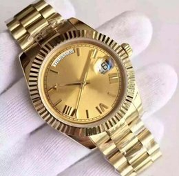 online shopping 18 ct yellow gold DAYDATE self winding mechanical movement Champagne dial Fluted bezel Concealed folding Crown clasp Mens watch