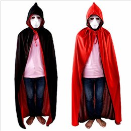 Barato Robe Assistente Halloween-Black Red Hooded Halloween Adult Sorcerer Wizard Cosplay Costume Hoody Cloak Witch Grim Reaper Cosplay Costume Robe Capes CPA924