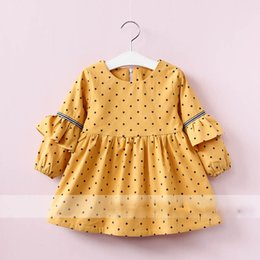 Robe À Volants Jaunes Pas Cher-Everweekend Girls Star Print Ruffles Dress Cute Baby Pink Jaune et Gris Couleur Princess Fleece Doublure Autumn Winter Clothing