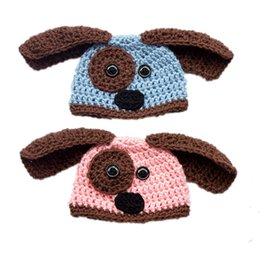 crochet baby puppy hats UK - Lovely Blue Pink Puppy Hat,Handmade Knit Crochet Baby Boy Girl Twins Dog Animal Hat,Child Winter Cap,Kids Toddler Photo Prop