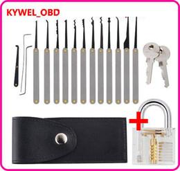 Locksmith tooLs extractor online shopping - Transparent Visible Pick Cutaway Practice Padlock Lock With Broken Key Removing Hooks Lock Extractor Set Locksmith Tool