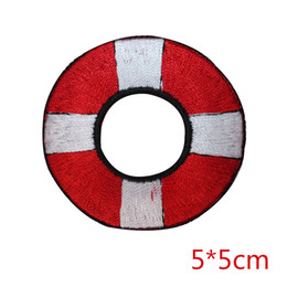 Chinese  New arrival Red and White Life Buoy emobroidered iron on patch DIY Apparel Accessories Patches For Clothing manufacturers