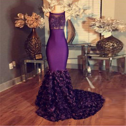 Discount picture petite nude Free Shipping Demure Mermaid Evening Dress Purple Lace Applique Empire Long Prom dresses 2017 Sleeveless with Flower-Tra