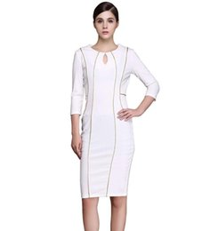 Robe De Bain Pas Cher-Taille plus Formal White Gold Piping Borders Robes en crayon au genou Femmes Bodycon Clothing