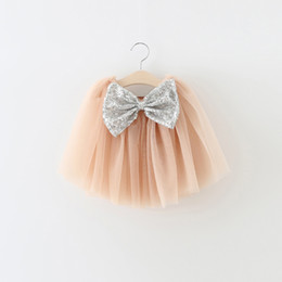 Jupe Volant Tutu Pour Bébé Pas Cher-Fashion Baby Girls Skirt Soft Tulle Summer Baby Girls Tutu Sequins Bow Ruffle Kids Girls Jupes 2017 New Children Tutu Jupe