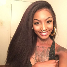 Discount afro kinky human hair straight wig - Brazilian Afro Kinky Straight Glueless Full Lace Wig With Baby Hair Italian Coarse Yaki Virgin Human Hair Lace Front Wig