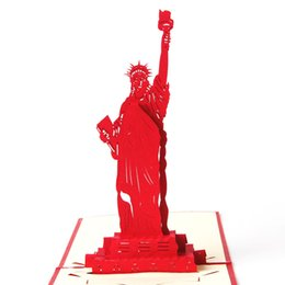 Discount kirigami origami cards - 10pcs lot Statue of Liberty Custom Cubic Postcard Kirigami & Origami 3D Pop UP Card Greeting&Gift Birthday Cards
