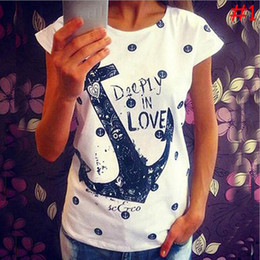 Wholesale-2016 Brand New Anchor Letter Impreso Casual Loose Women Tees, Summer HOT Women T-Shirts, Ladies Fashion camiseta XHH04443