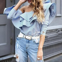 Tops D'été À La Mode Pas Cher-HAUT-QUALITÉ 2017 Designer Spring Summer Blouse Trendy Women One Shoulder Ruffles Striped Casual Shirt Cocktail Party Top