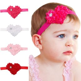 Vendas Del Pelo Del Bebé Blancas Baratos-Baby Girls Headbands Flor Amor forma Holiday Hairbands Recién nacido Elsatic Bands Niños Headwear Accesorios para el cabello rosa / rosa / blanco / rojo