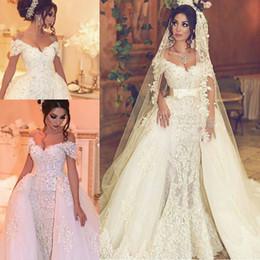 $enCountryForm.capitalKeyWord Canada - Sexy V Neck Luxury Lace Wedding Dresses Pearls V-Neck Off-Shoulder Detachable Train Applique Bridal Gowns With Belt Robe De Mariage