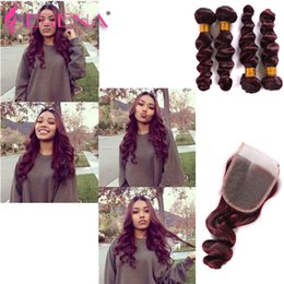 Human Brazilian Hair NZ - Body Wave Brazilian Virgin Hair Loose Wave 4 Bundles Burgundy Human Hair Extensions Wine 99j Loose Wave Hair With 4x4 Lace Closure