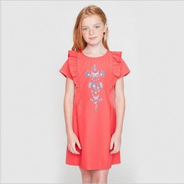 Barato Vestidos De Bebês Adolescentes-Summer Teenage Bordados vestidos florais Junior Fashion Ruffles Dress Big Babies Casual Dress 2017 roupas para crianças