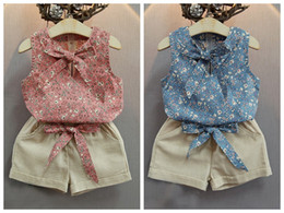 Floral Print Shirts Baby Australia - Summer Baby Girls Sets Floral Printed Sleeveless Bow Suspenders T-shirt Tops + Solid Color Shorts 2pcs Suits Kids Clothes Free Shipping