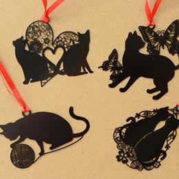 $enCountryForm.capitalKeyWord Canada - 24 Pcs Lot Chinese Black Cat Metal Bookmarks for Books Notebook Tab Book Mark Stationery School Supplies Marcador De Livro