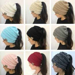 2018 christmas crochet gifts Winter Women Ponytail Hats Beanies CC Skull Hat Warm Knitted Beanie Crochet Cap Adult caps womens Woman Christmas Gift NEW free shipping christmas crochet gifts on sale